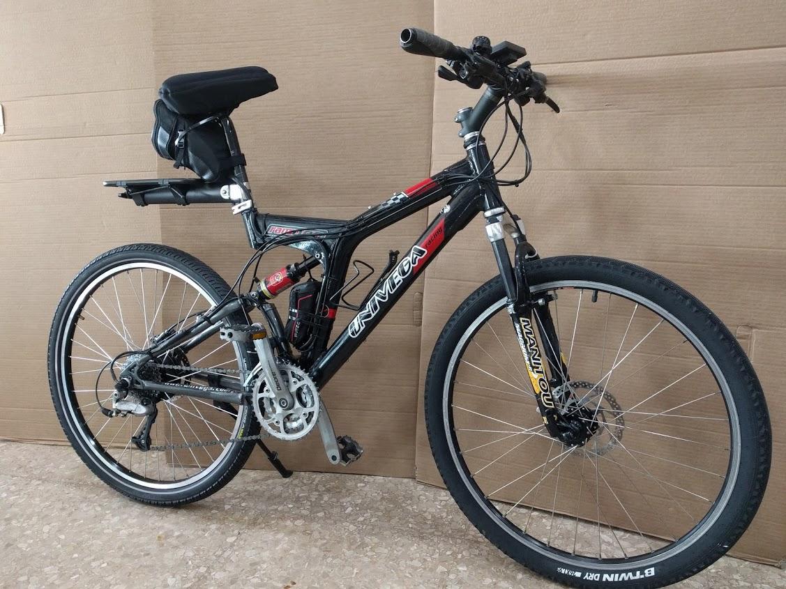 Bicicleta Doble suspensión transformada en bicicleta eléctrica